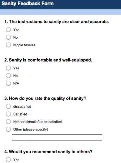 Fill in this Sanity Feedback Form